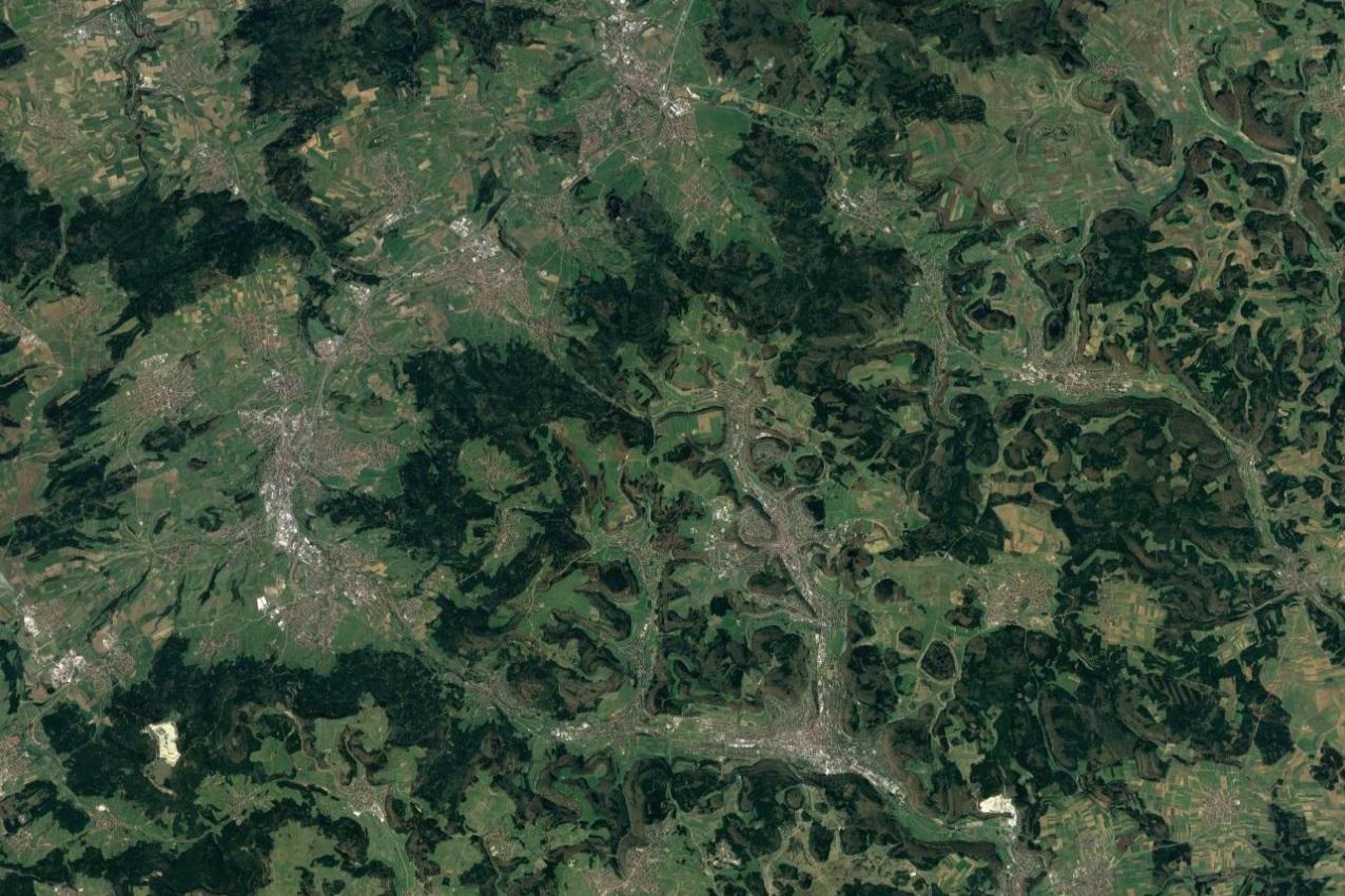 Aerial View over Albstadt, Swabian Jura, Germany