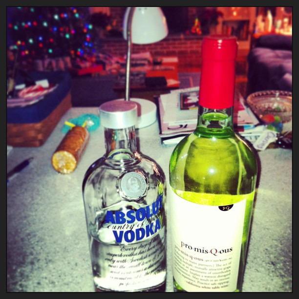 """An instagram photo of mine from Christmas 2012. These were my """"wrapping presents"""" beverages."""