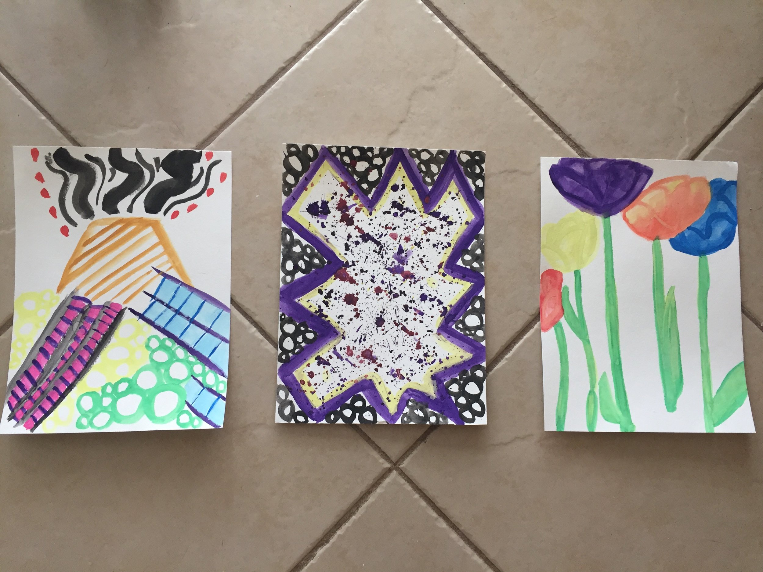 All three of my paintings that are now in Tammi's hands