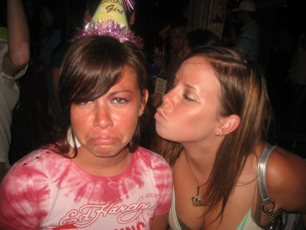 Me in a blackout and my roomie on my 23rd birthday in Ocean City