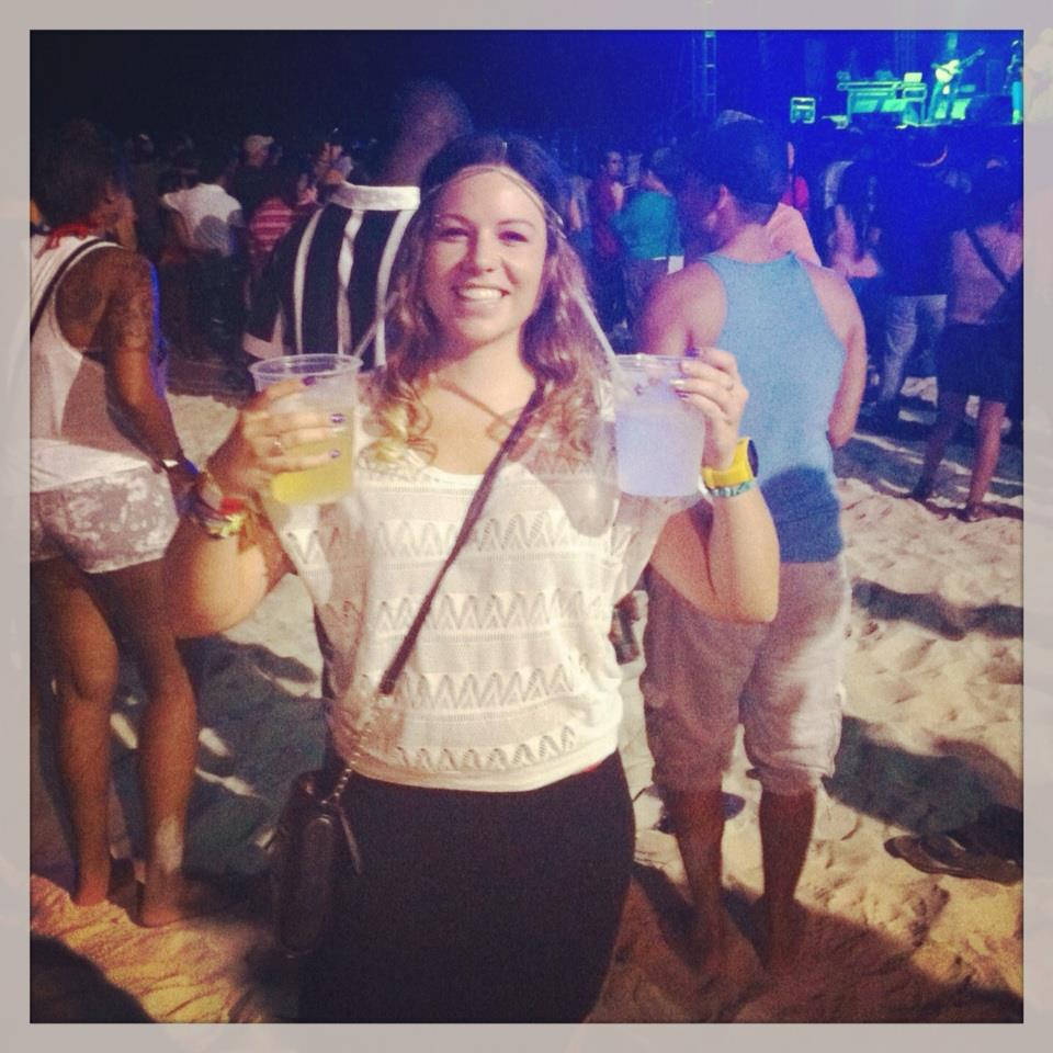 Double fisting alcohol at a concert in Playa del Carmen just before my trip to Punta Cana in 2013
