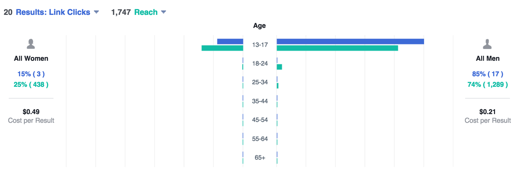 Facebook ad Manager Results (Instagram Ad)