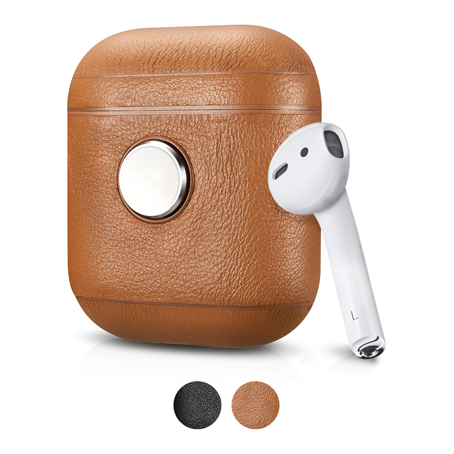 ZenPod Brown | Silver Spinner - With AirPod and Colors Vertical Stack.jpg