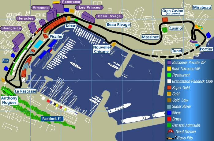 Map of the Circuit de Monaco. Click Image for more information about the track.