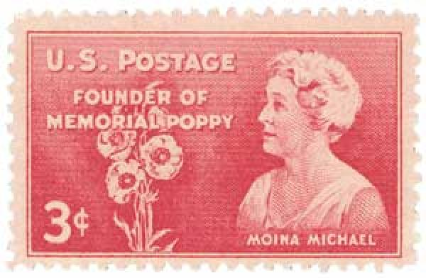 The postage stamp to commemorate Moina Michael.