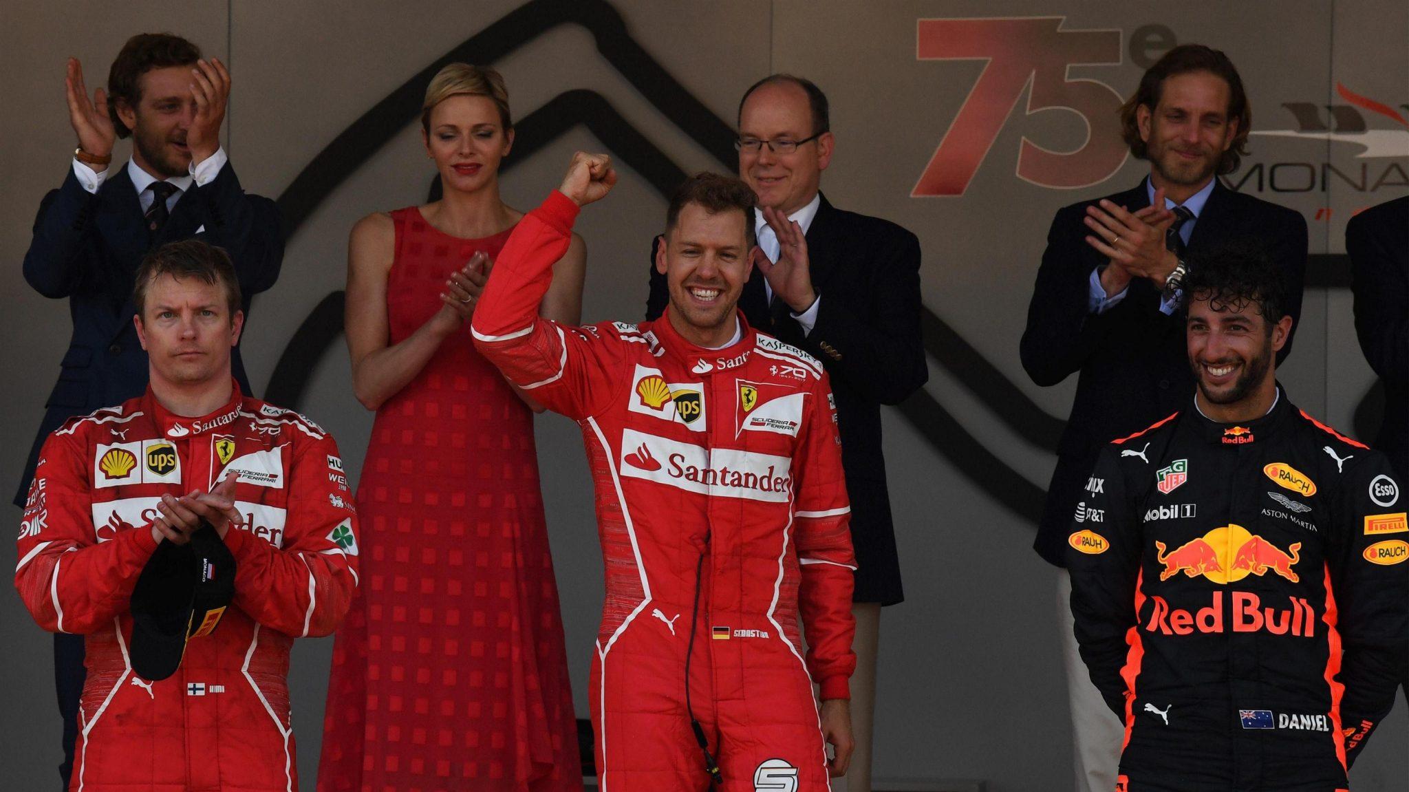 (L to R) Kimi Raikkoneni, Sebastian Vettel, and Daniel Ricciardo on podium at 75th Monaco Grand Prix Monaco Grand Prix, Sunday 28 May 2017. © Sutton Images