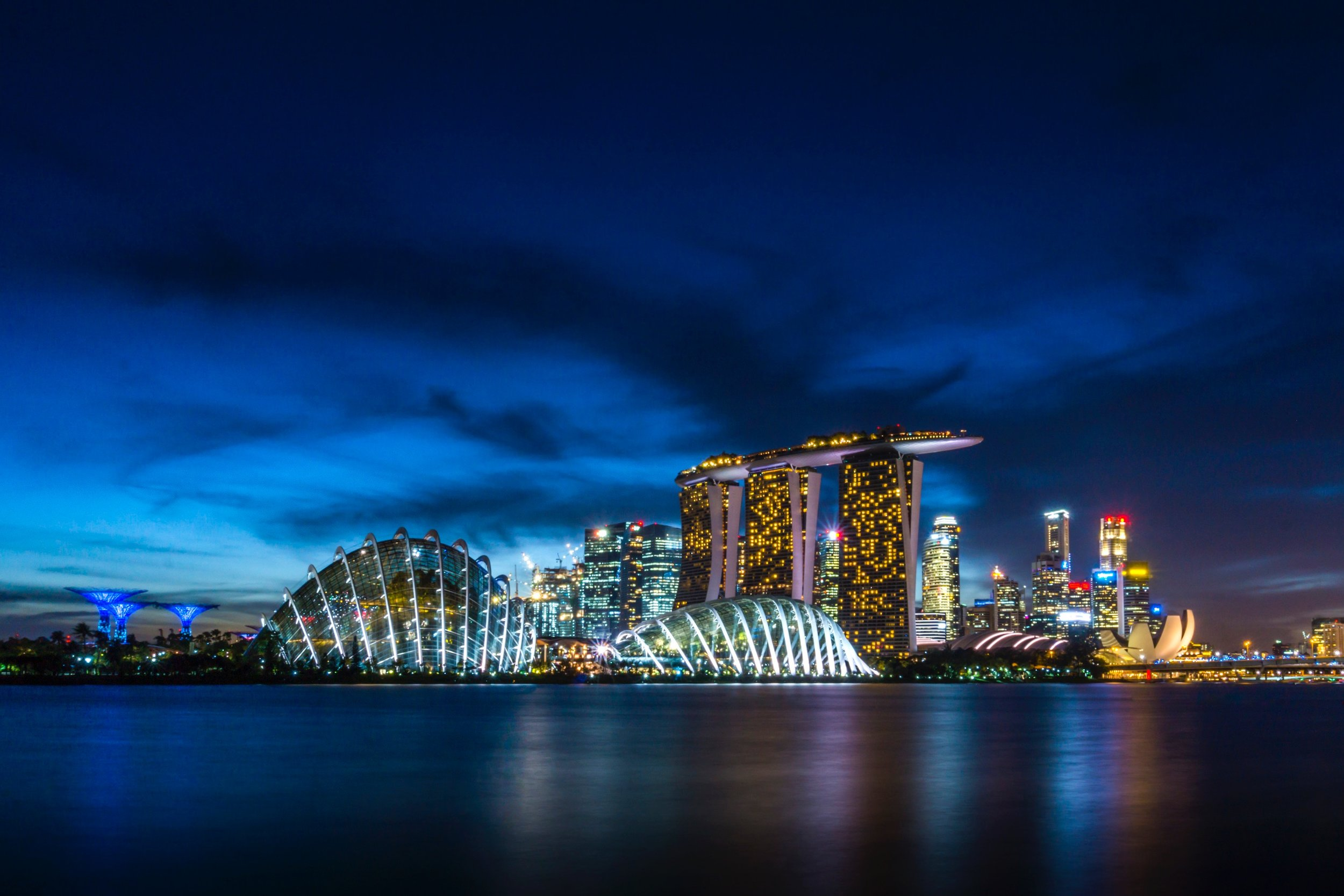 Singapore's Marina Bay Sands Hotel and Casino and the Gardens on the Bay.
