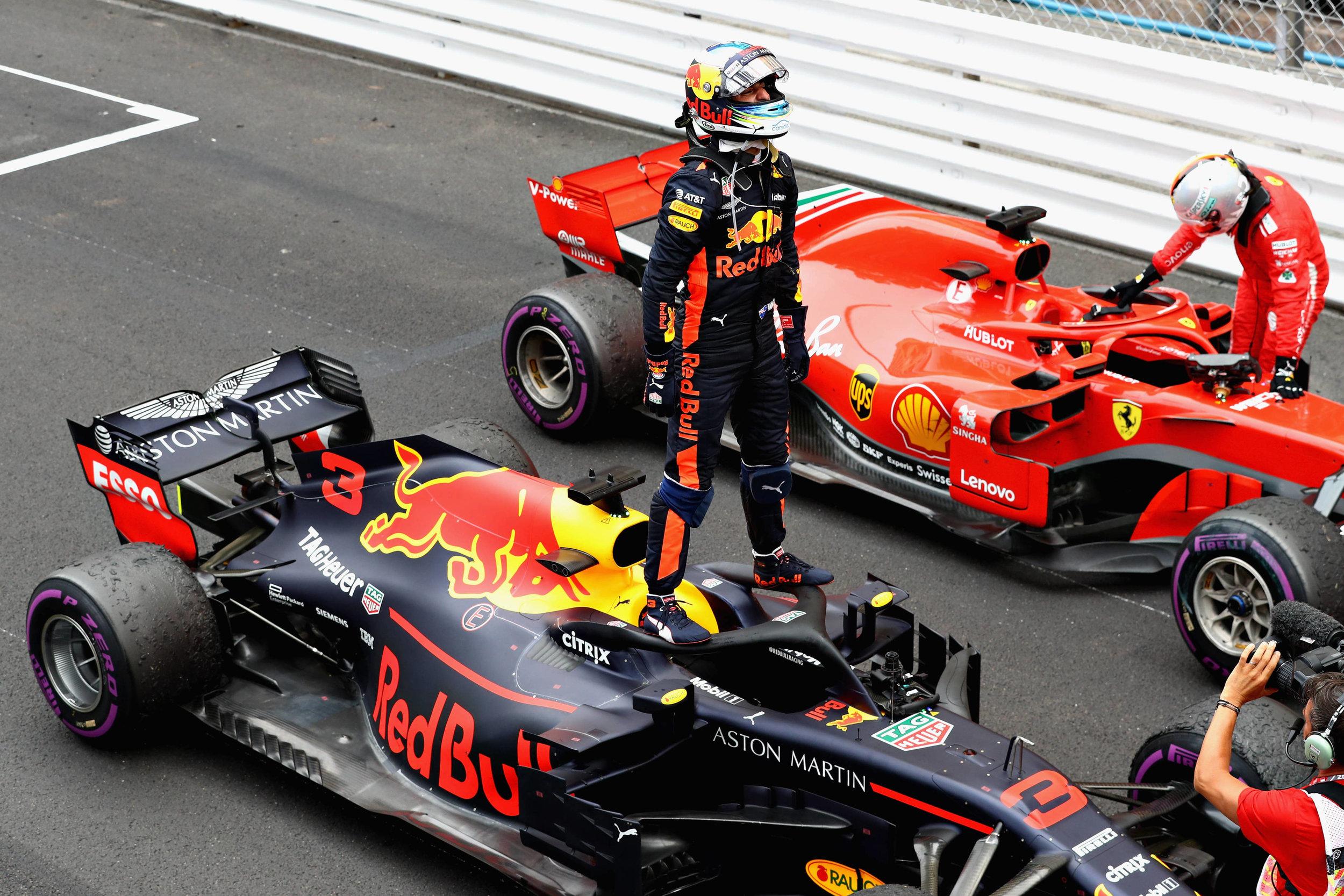 daniel ricciardo stands on halo monaco GP.jpg