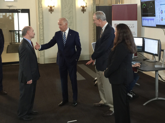 """I can't tell you how excited I am about this,"" said Biden, as he toured the facility and spoke with UChicago cancer researchers, including Robert Grossman, principal investigator for the GDC and director of the Center for Data Intensive Science at UChicago.   Read More →"