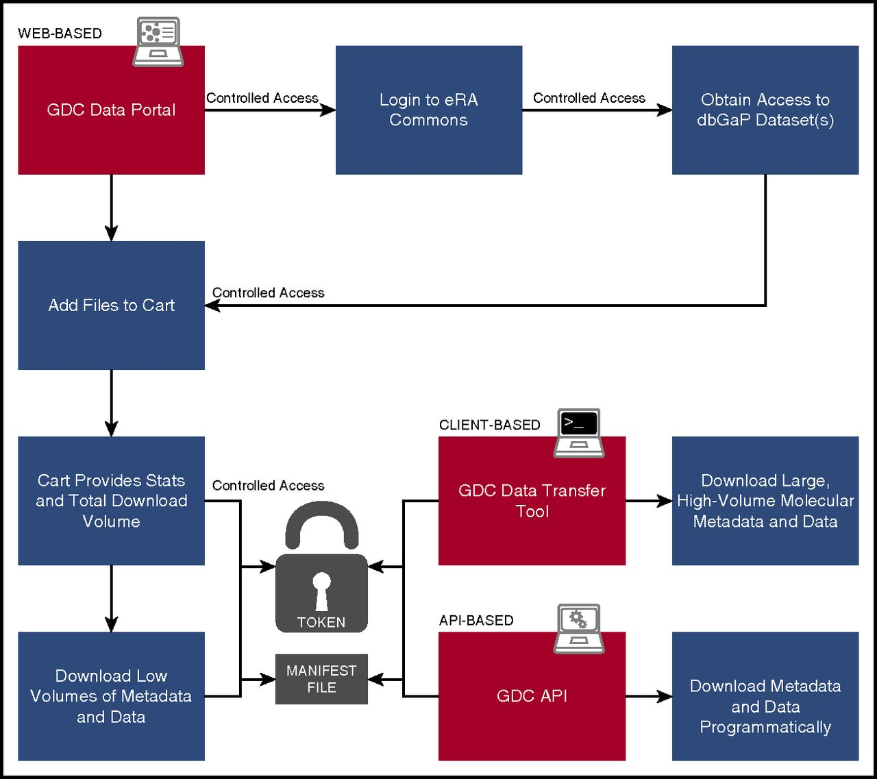 """Figure 3.   User workflow. Diagram indicating user steps to authenticate and download GDC data. Red panels indicate the 3 means for accessing data: the Web-based Data Portal, the standalone Data Transfer Tools, and the programmatic API. """"Token"""" is a short text file provided to an authenticated user that acts like a password to enable secure transfer of authorized controlled data, such as sequence alignments."""