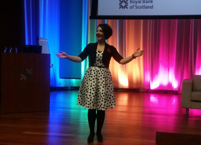 On stage at RBS - away from the lectern!