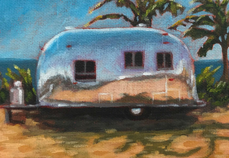 """Trailer 1"", 6"" x 4"", acrylic on canvas board (SOLD)"