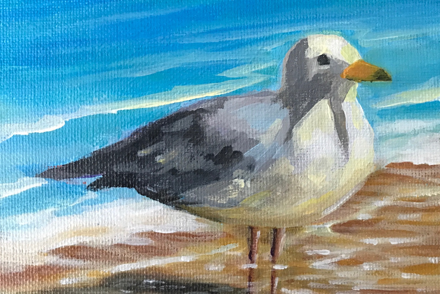 """""""Waiting in the Water"""", 6"""" x 4"""", acrylic on canvas board (SOLD)"""