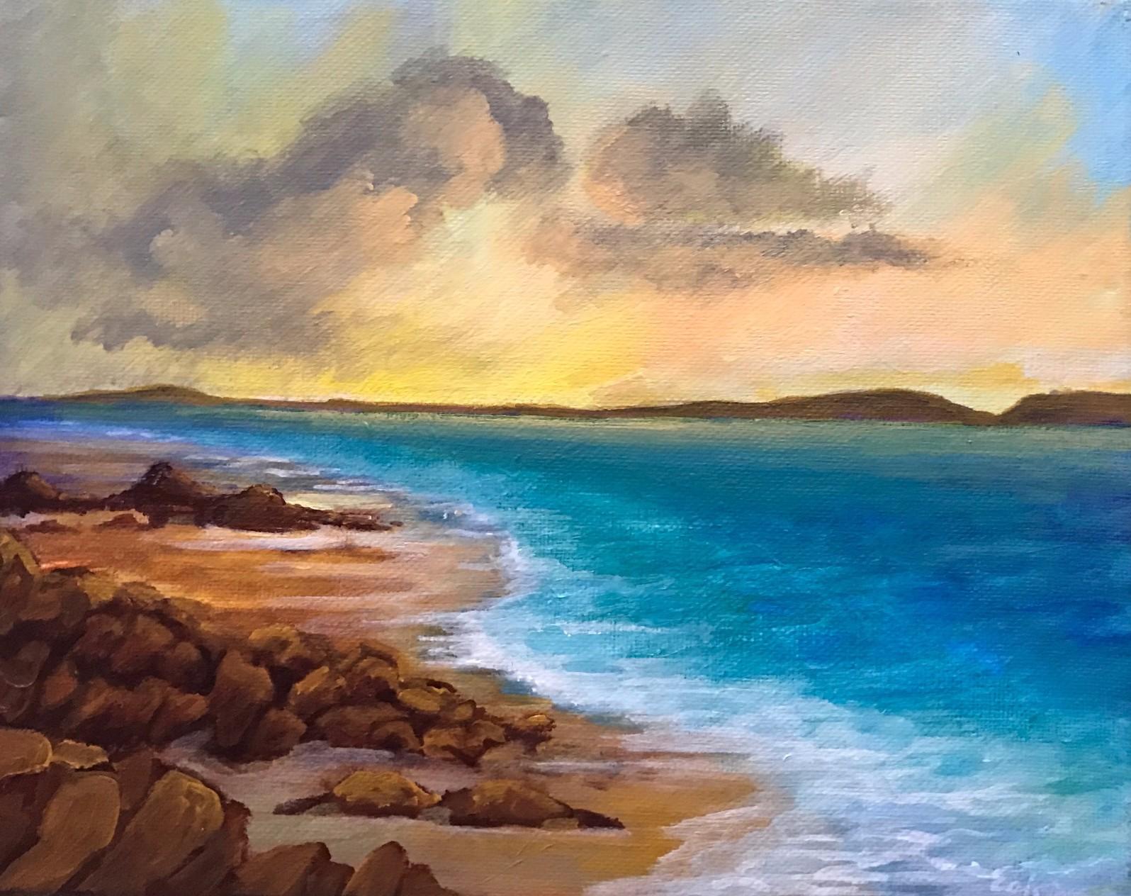 """""""Seaside"""", 10"""" x 8"""", acrylic on canvas"""