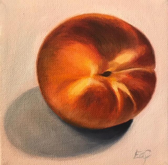 """Georgia Peach"", 5"" x 5"", oil on canvas (SOLD)"