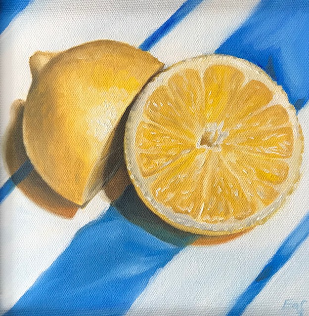 """""""Lemon and Lines"""", 8"""" x 8"""", oil on canvas"""