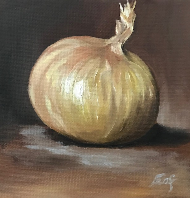 """""""Little Onion"""", 5"""" x 5"""", oil on stretched canvas"""