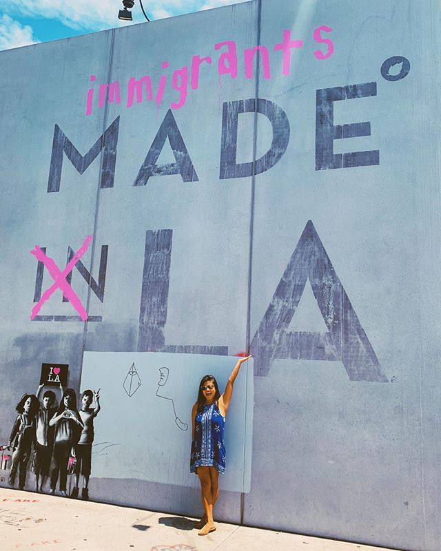 We sure did! I don't normally take photos in front of these walls, but Melrose and Laurel got an upgrade. 🎯🙋🏽♀️🌴 #LAallday #angeleno #filipino ・・・ In a time when the public discourse is tainted with an anti-immigrant sentiment. We need to remind ourselves of what we are composed of as a city and more broadly as a nation.