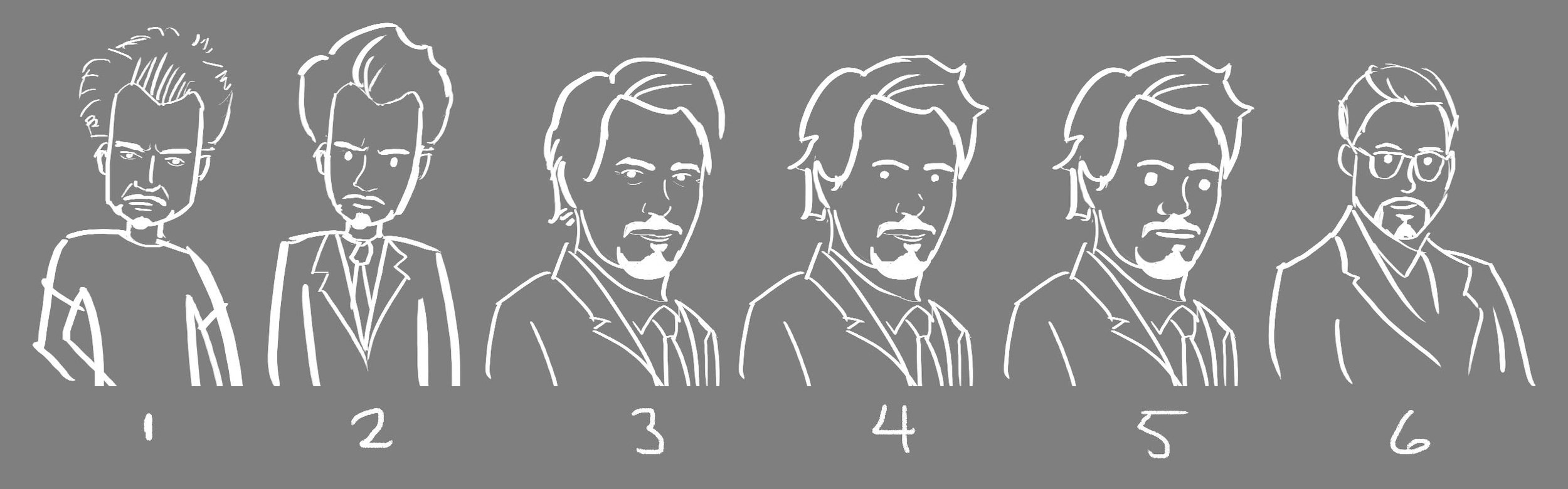 "The main character, Tony, was described as ""looking like Robert Downey, Jr."" These are different style options for the client to decide how cartoonish or realistic the illustrations would be."