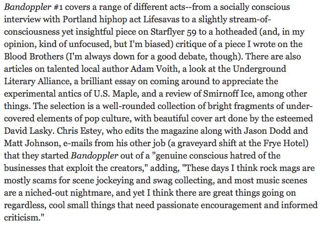 Screenshot of Bandoppler Magazine as reviewed in The Stranger, 2003