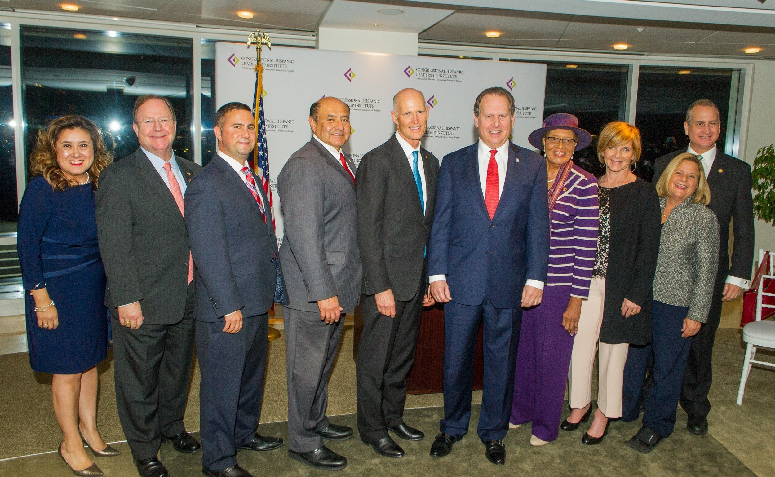 Photo left to right: CHLI President & CEO, Mrs. Gomez Orta; Rep. Flores; Rep. Soto; Rep. Correa; Sen. Scott; CHLI Chairman Lincoln Diaz-Balart; Rep. Adams; Rep. Lee; The Honorable Ileana Ros-Lehtinen; and Rep. Diaz-Balart.
