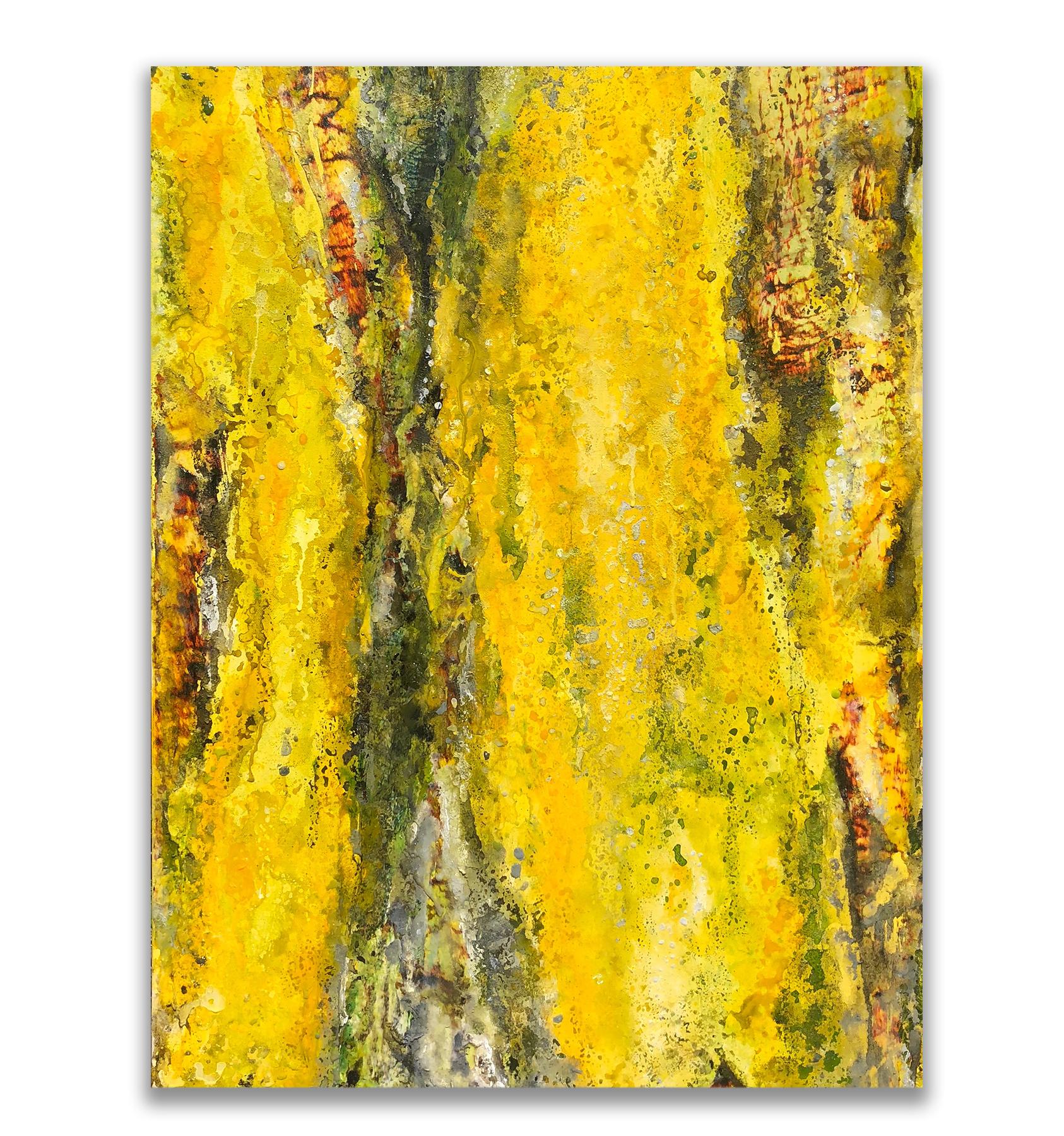 Canary in A Coalemine     24x36 Mixed Media (acrylic, sand)