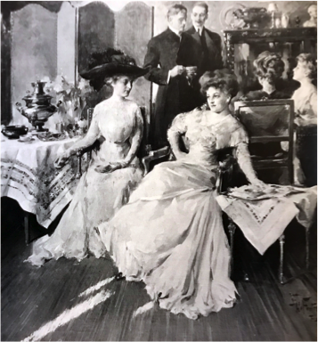 """Figure 1.  Teatime (Upstairs Downstairs) , 1910, oil  en grisaille  on canvas, 38 x 35 5/8 inches, original illustration for """"At the Court of Russia…,"""" DELINEATOR (April 1910)"""