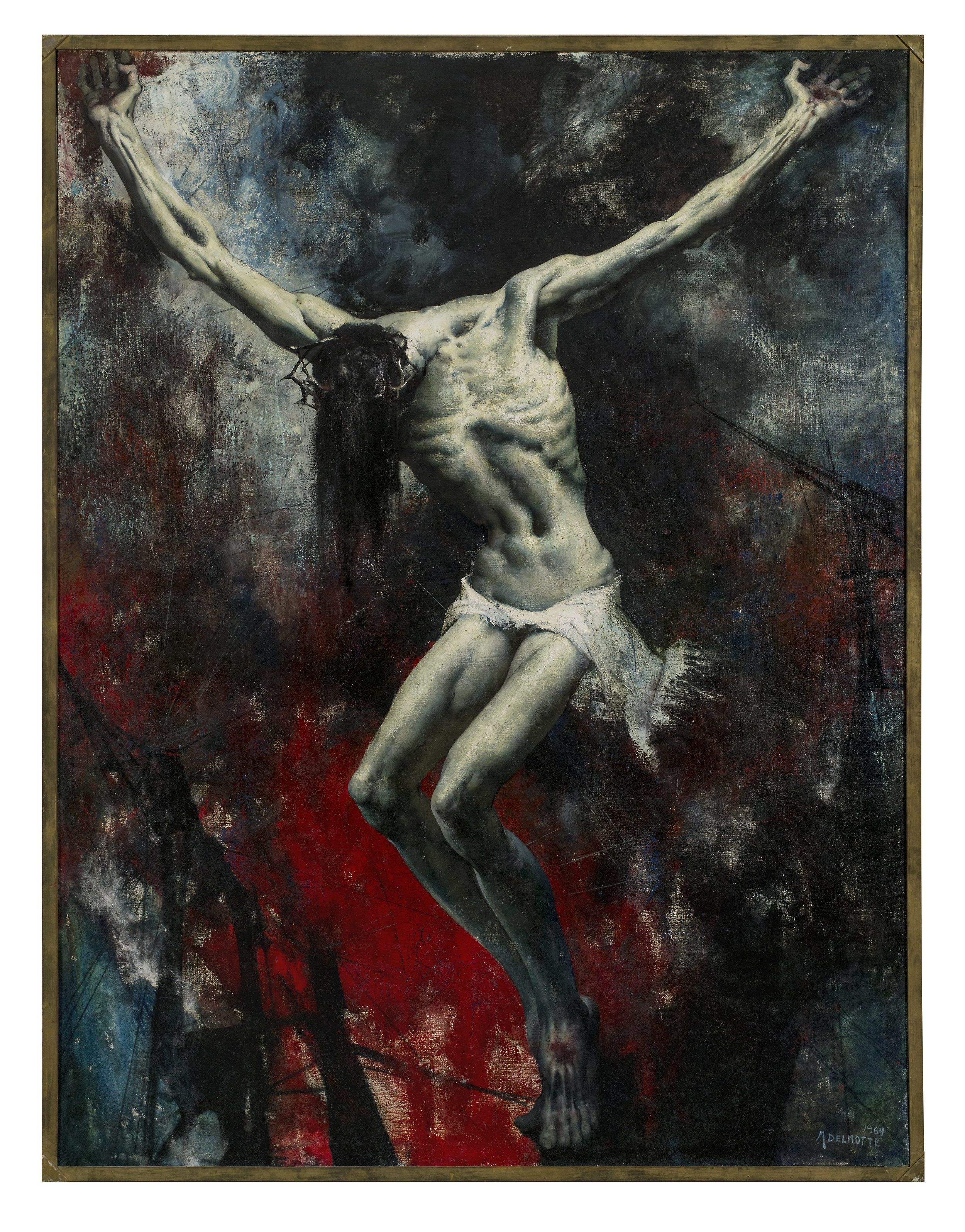 It could be argued that every painting Delmotte made, regardless of subject, functions as an allegory. - His paintings that depict the human figure, however, openly draw from deeply familiar stories and concepts that run throughout the history of Western culture: the loves of the Olympian gods, the suffering of Christ, the fear of death, the appeal of sensuality and carnal desires, the elation of physical beauty when juxtaposed with the despair of decay and destruction. He seemingly grafted together the harmonious proportions of classical sculpture with medieval expressions of faith, suffering, and apocalyptic endings. These narratives of the primeval origins of life, ancient mythology, Christianity, and modern society and its potentially wonderful and harmful technological developments are presented in his paintings as a means of understanding the human condition.