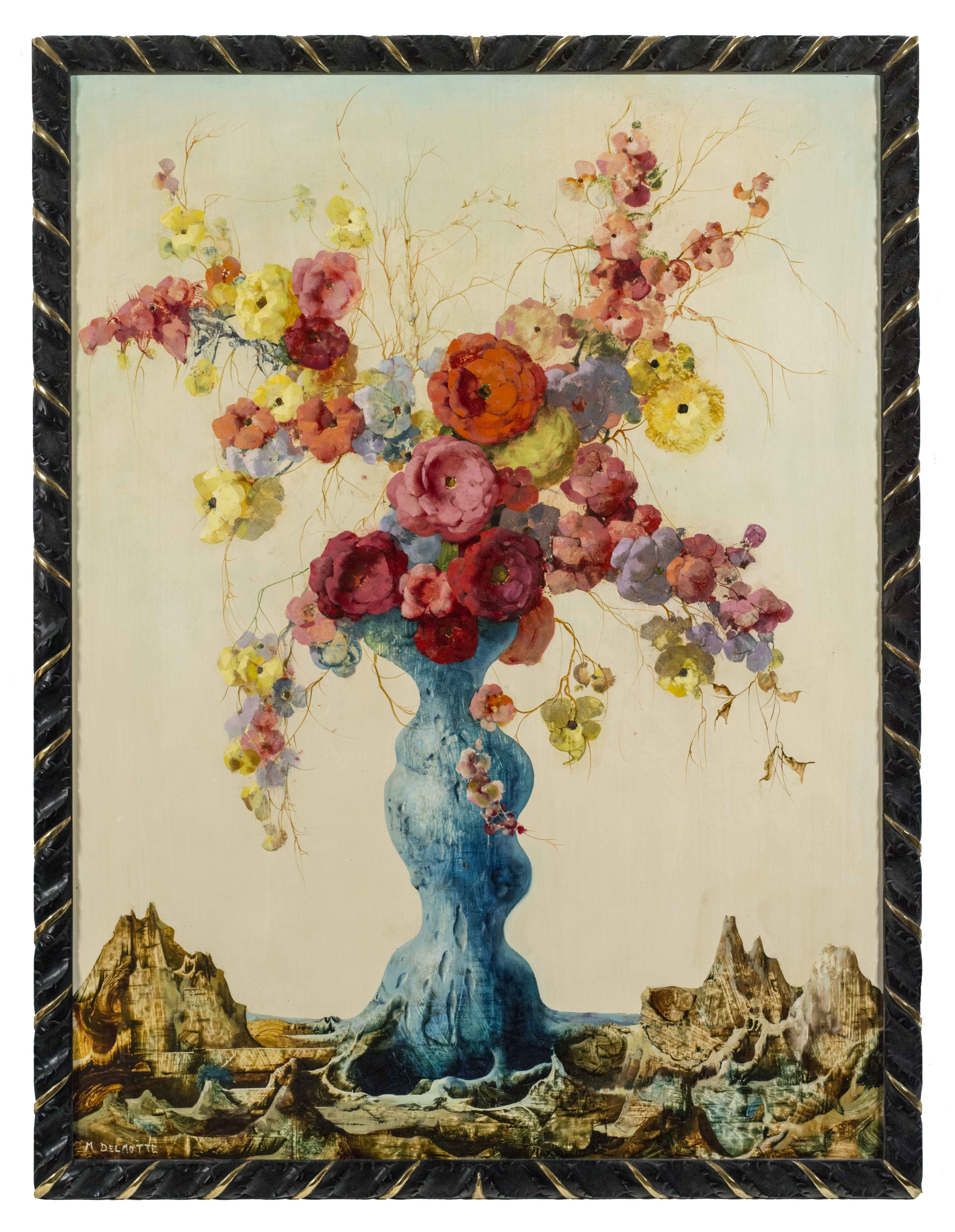 Flowers in blue vase with rocky landscape.jpg.jpg