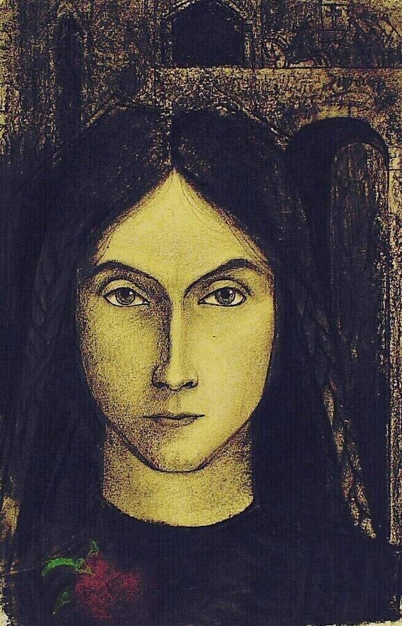 Figure 1. Jan Toorop, Meisjeskopje (Head of a Girl), 1915, chalk on paper, 26.5 x 16 cm, Kröller-Müller Museum, KM 103.75.
