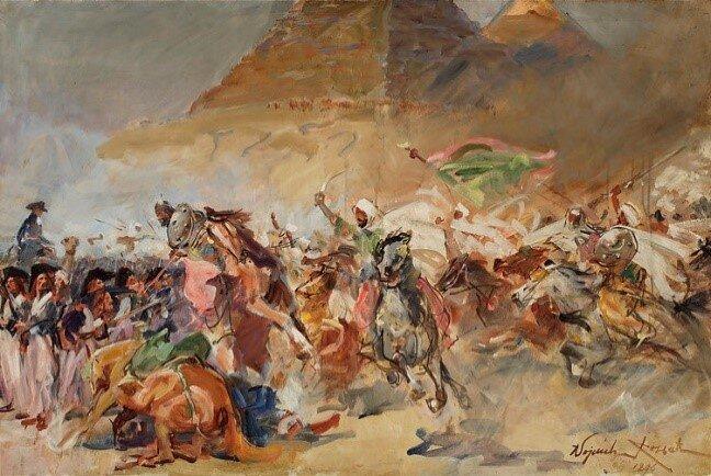 Figure 1.  Wojciech von Kossak, Battle of the Pyramids, 1896, oil on canvas, 27 ½ x 41 3/8 inches (70 x 105 cm) .