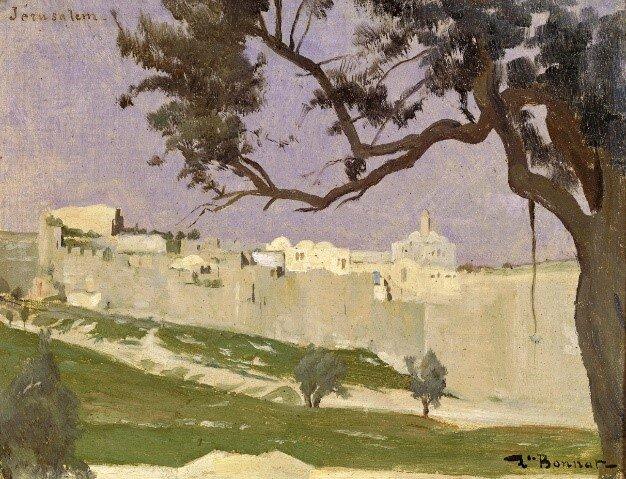 Figure 2.  Léon Bonnat, View of Jerusalem, oil on canvas, 8 5/8 x 11 1/8 inches (21.9 x 28 cm).