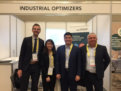 Pictured(left to right) at the IATA Slots Conference, Vancouver: James Gardner (Business Development Manager, Industrial Optimizers); Angela Lugtu (Manager, Network Management, Cebu Pacific); Dio Angelo Alojado (Director, Network Management, Cebu Pacific); Steve Cobb (Business Development Manager, Industrial Optimizers).