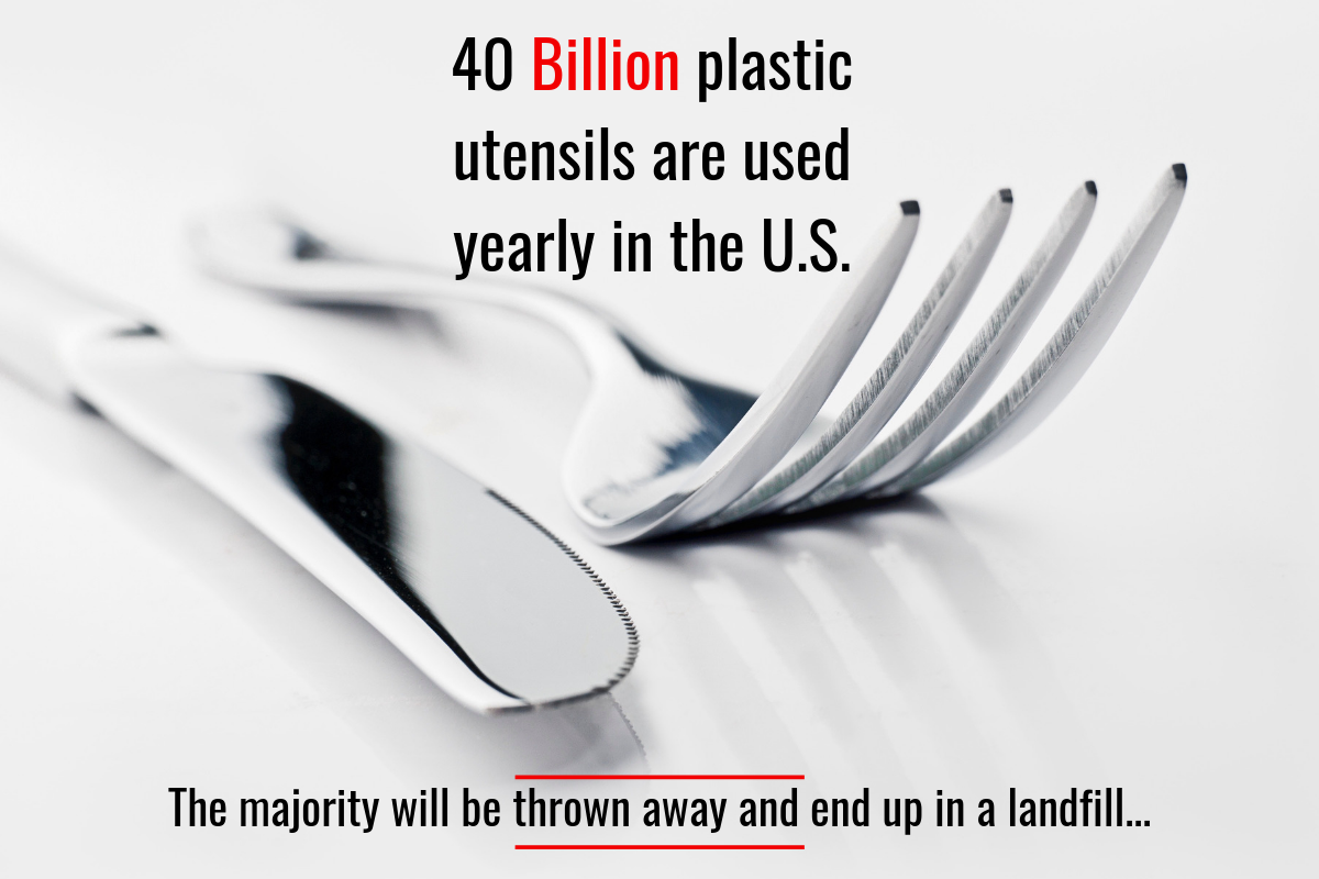 Are we forked? - Plastic cutlery falls into the same type of fight as the straw battle. As the rise and ease of the food delivery market rises, we need to remember that a large number of those deliveries will have plastic utensils. Keep some metal silverware in the glovebox of your car, or in a drawer at the workplace. Saying NO to plastic utensils is saying YES helping our environment.