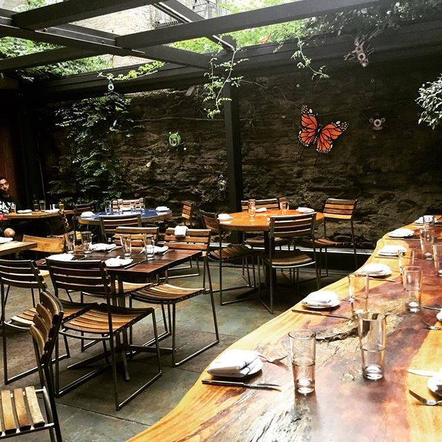 Garden dining in full effect! #nycfood  #nycrestaurants #outdoorkitchen #foodie #dinner #upperwestside #foodporn #bustannyc #israelifood #eater #nytimesfood #timeoutnewyork #hummus #falafel #shakshuka