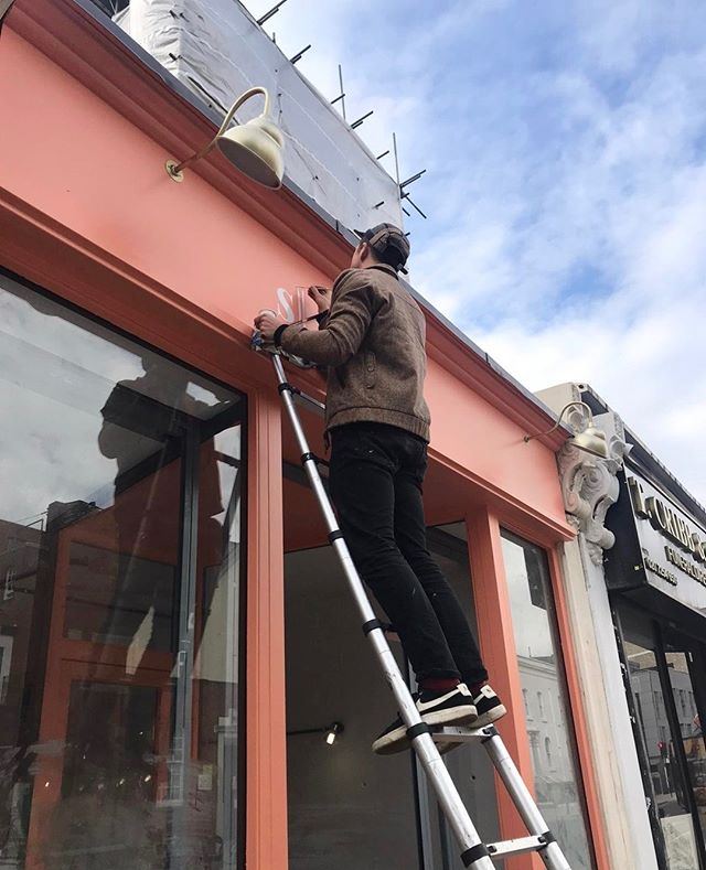 Eeeek! Our sign going up at our new Dalston salon. Keep up to date with our renovations over on stories - we've highlighted them if you've missed any too! #shoreditchnailsdalston