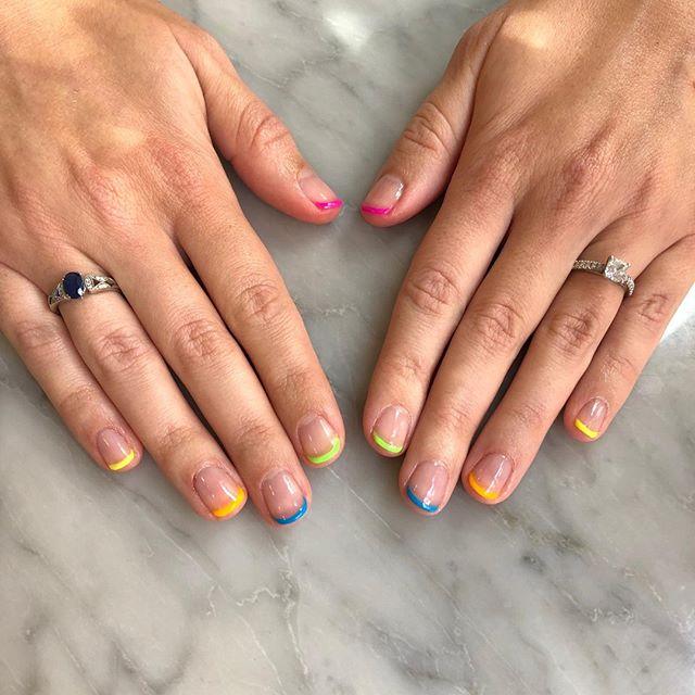 Rainbow tips 🌈   To book: Shellac full works mani + Alternative French  #shoreditchnails