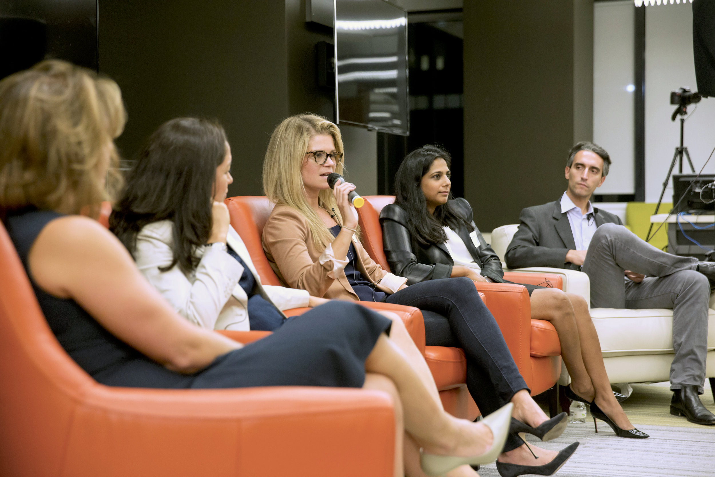 From left to right: Janet Balis, Catalina --, Holly McConnell, Saleena Goel, Jeremy Levine