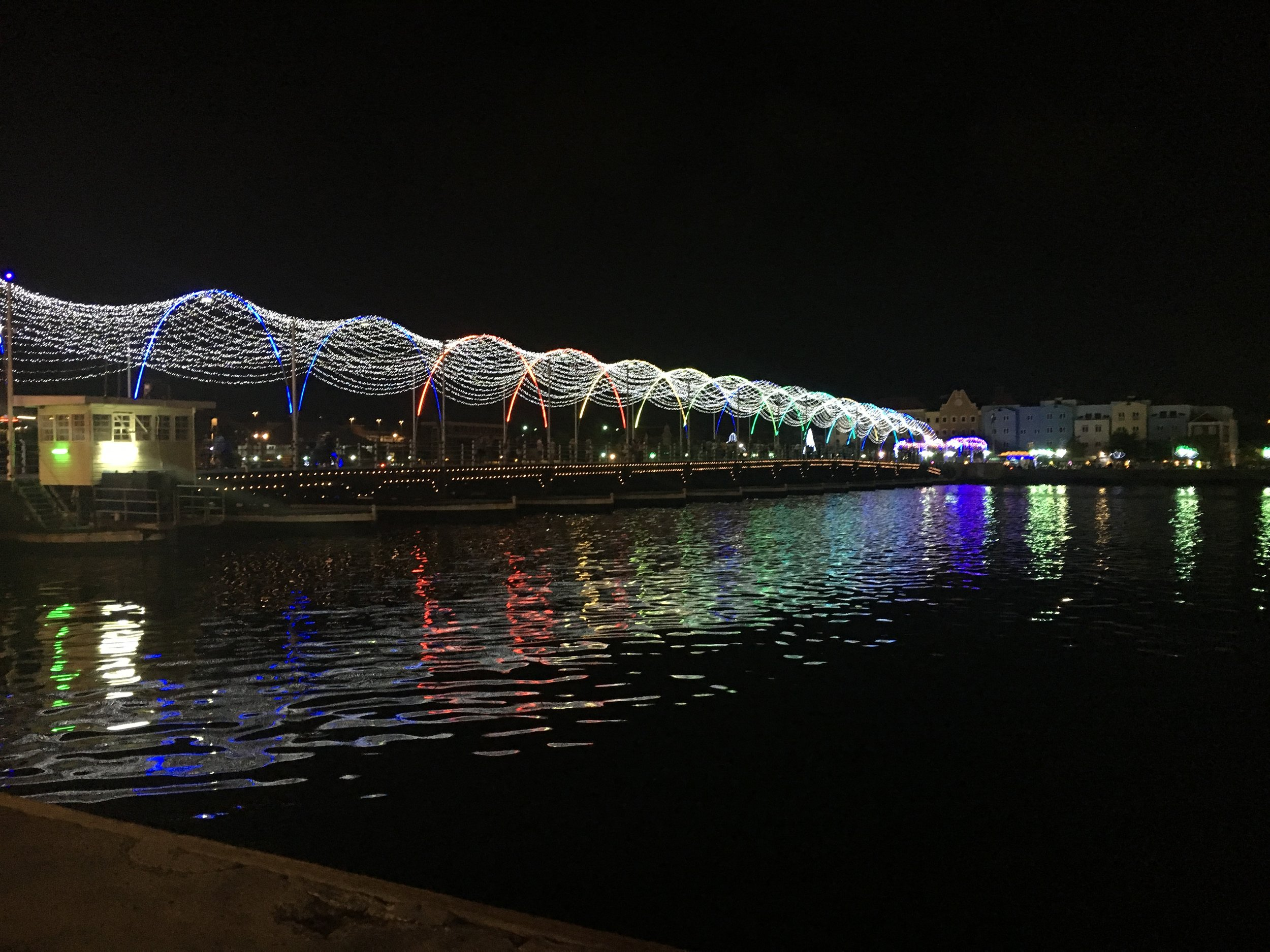 Queen Anne floating bridge lit at night