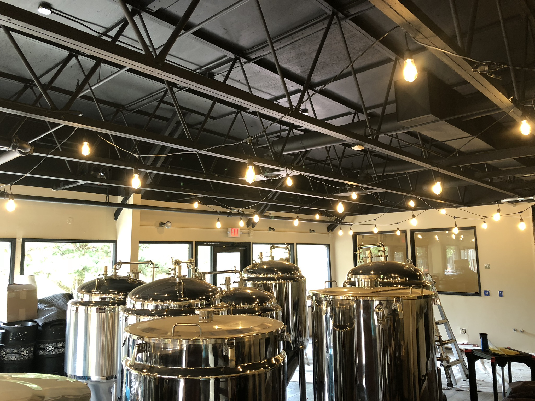 new lights in the taproom