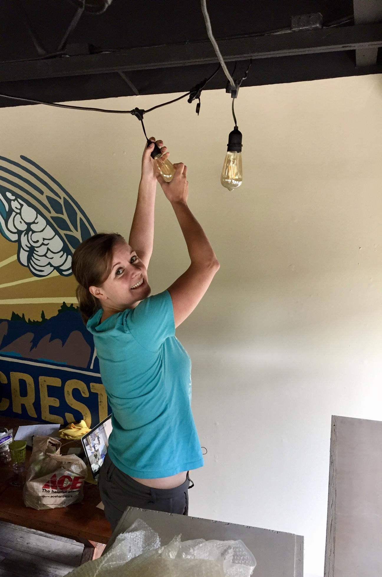 Amy hanging lights