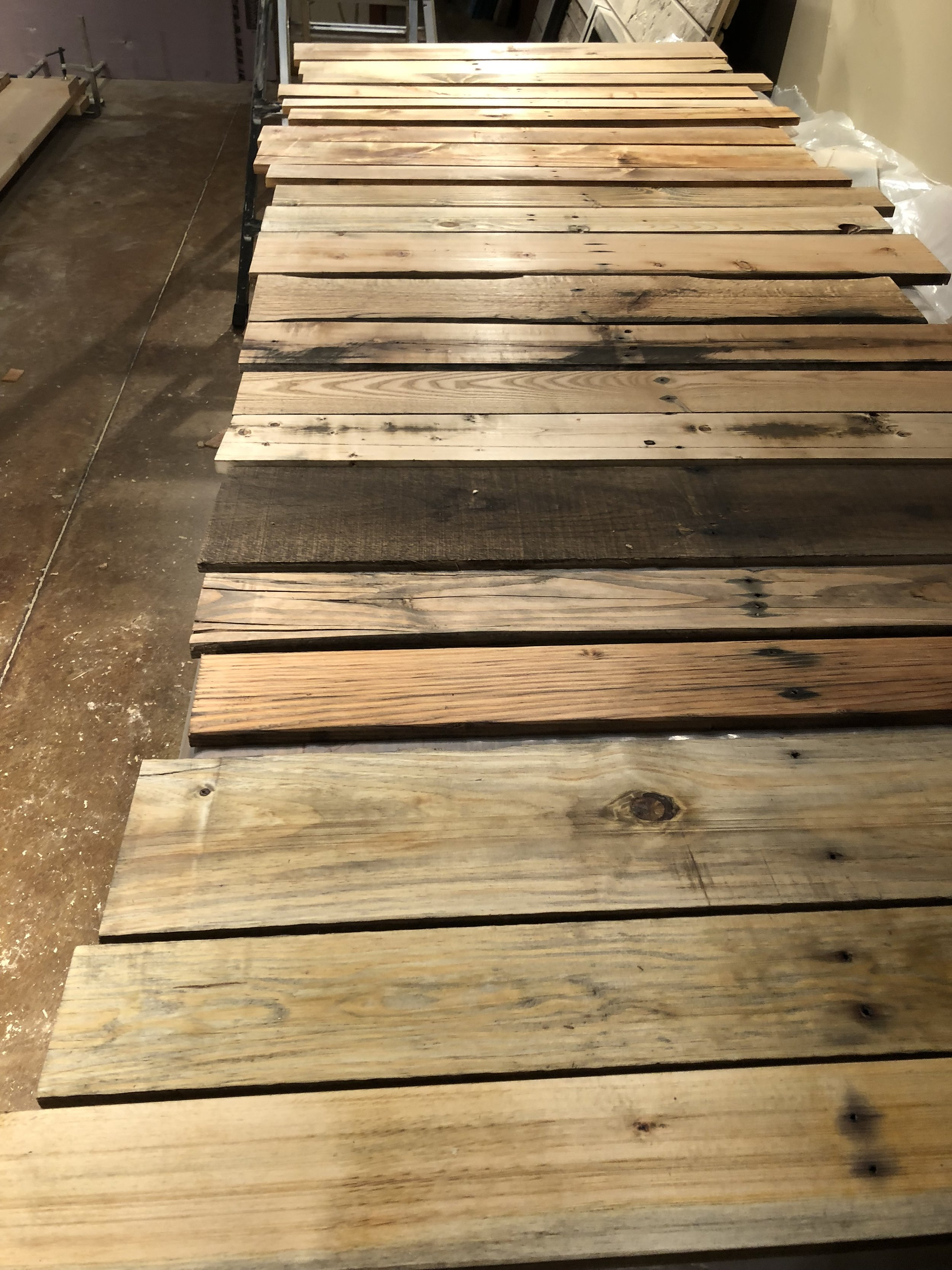 stained pallet wood for the bar