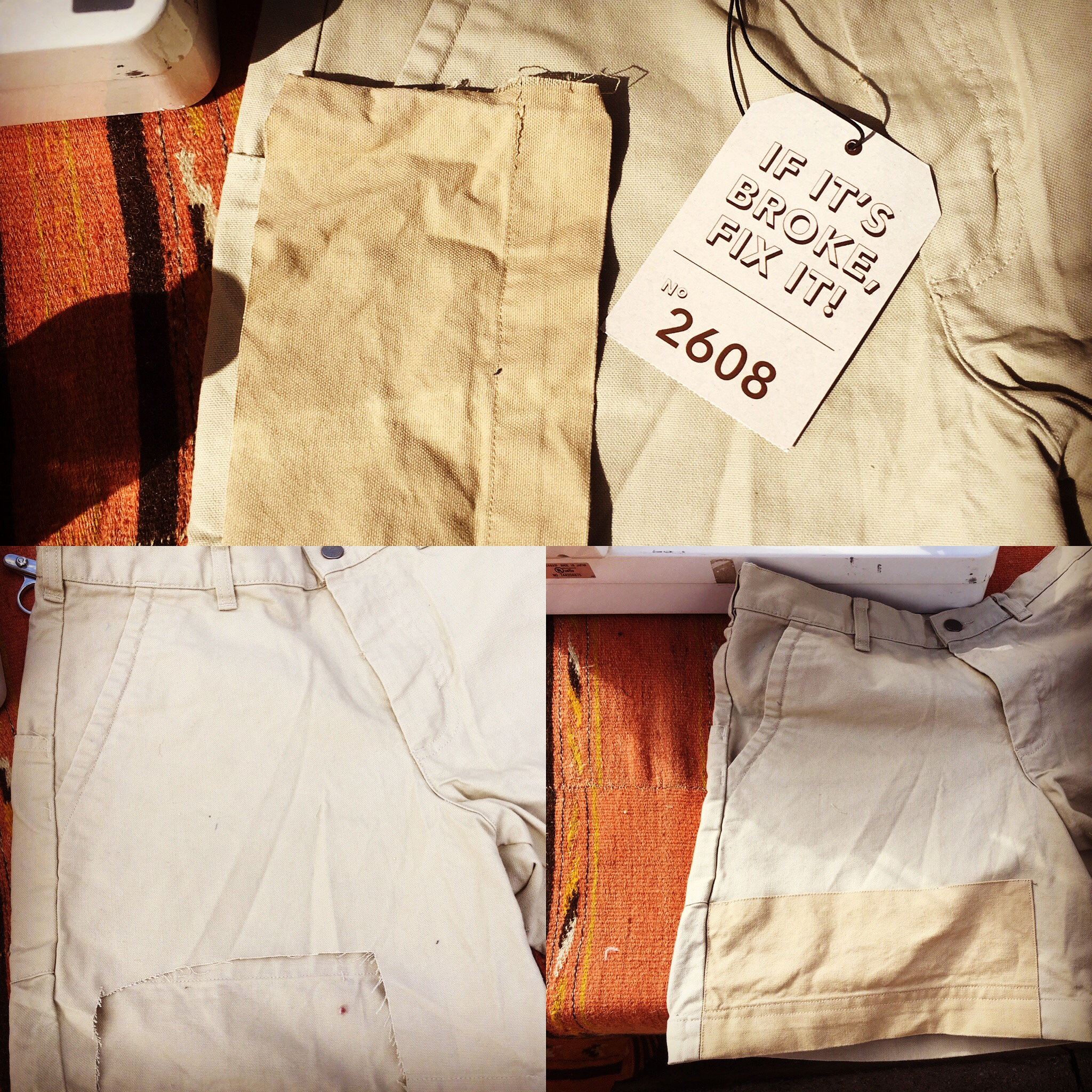 A pair of Patagonia Stand Up Shorts that I fixed for our tour manager Brandon while we were on the road. Many memories are formed while wearing Stand Ups, and every pair we fix comes with a great story.