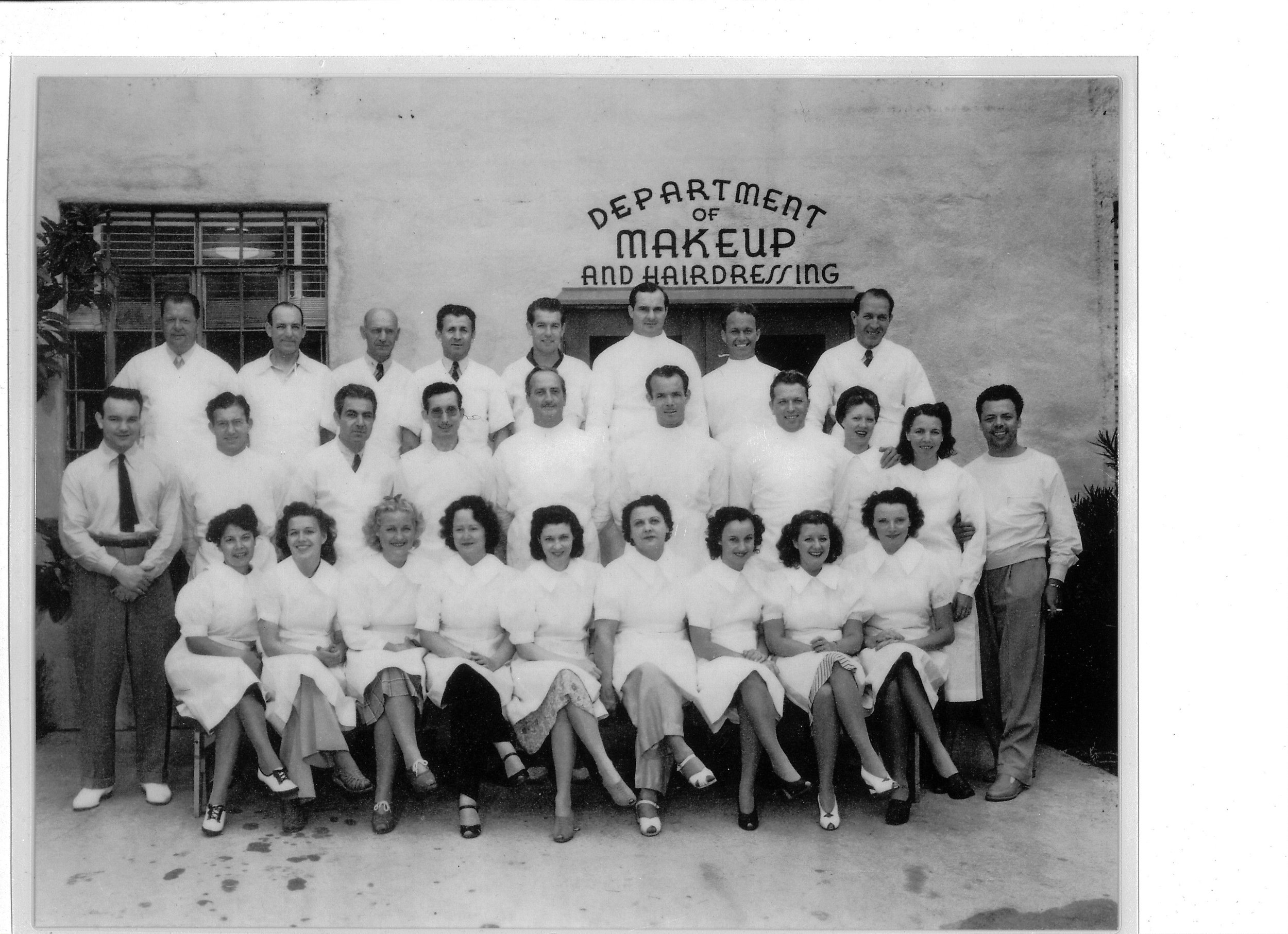 The Warner Brothers Makeup and Hairdressing Department. 1937. Perc, 2nd row, end. Edith Westmore, seated front row middle, black pants.