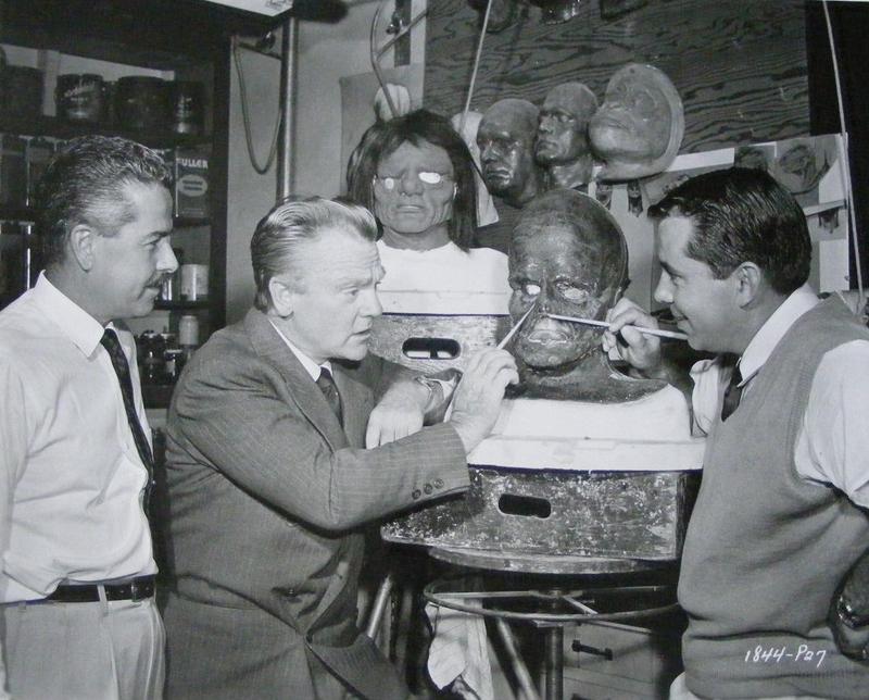 Jack Kevan, James Cagney, and Bud Westmore, 1957.