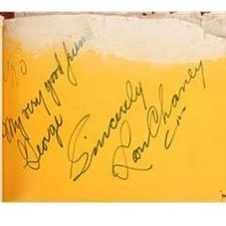 """To my very good friend, George. Sincerely, Lon Chaney."" A page from George Westmore's Autograph book.  #westmoroesofhollywood #westmore #georgewestmore #pioneeroftheindustry #lonchaney #vintagehollywood #page #autograph #hollywoodhistory #hollywood"