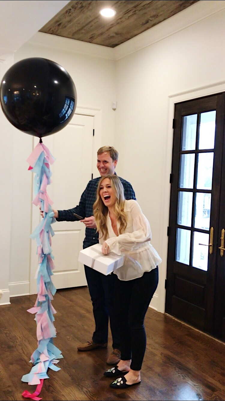 This is a gorgeous Tory Burch blouse AND a pair of J. Brand Maternity jeans from our gender reveal party with our families... both RTR Unlimited!
