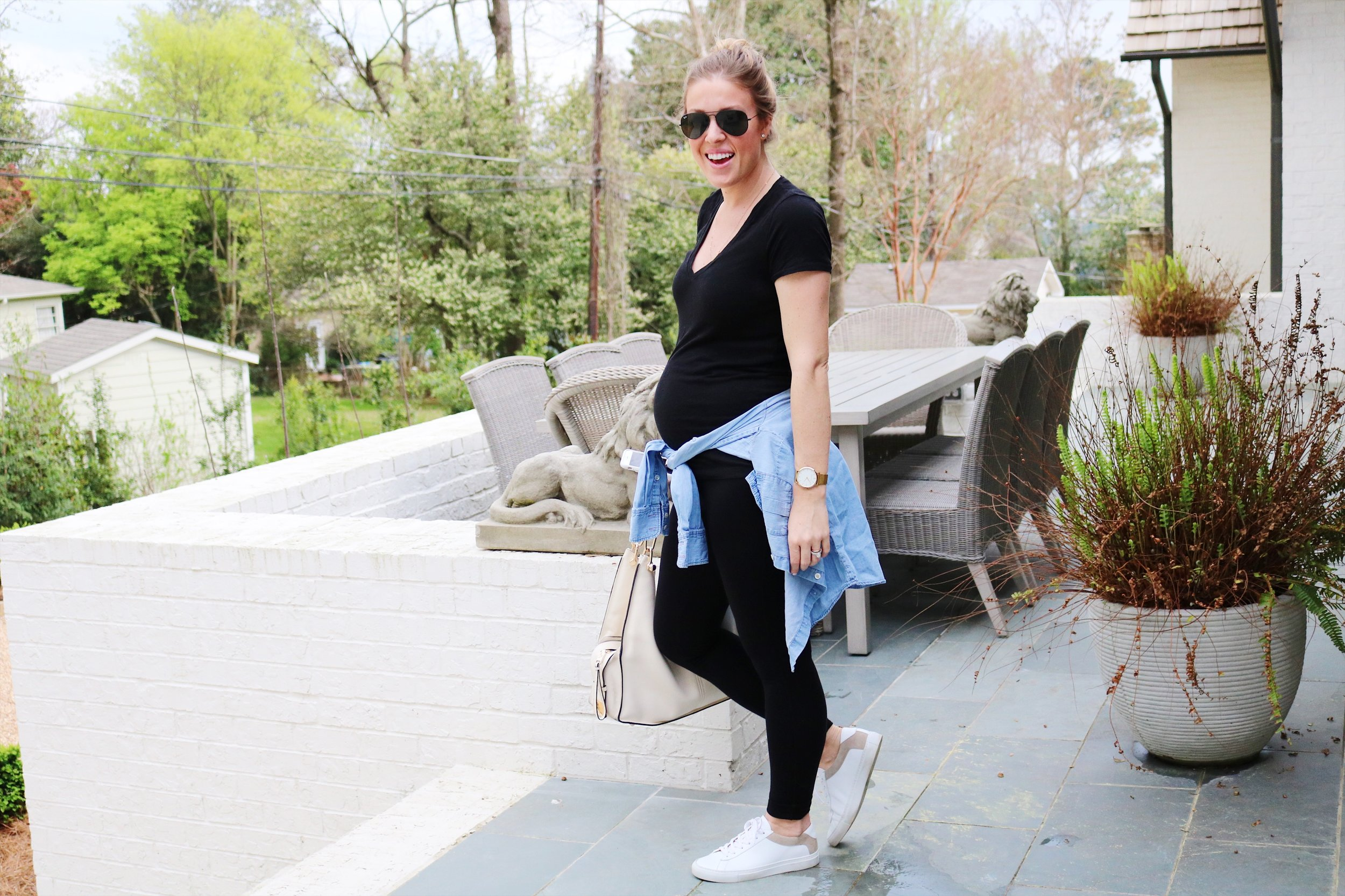My go-to maternity leggings and sneakers - both linked below!