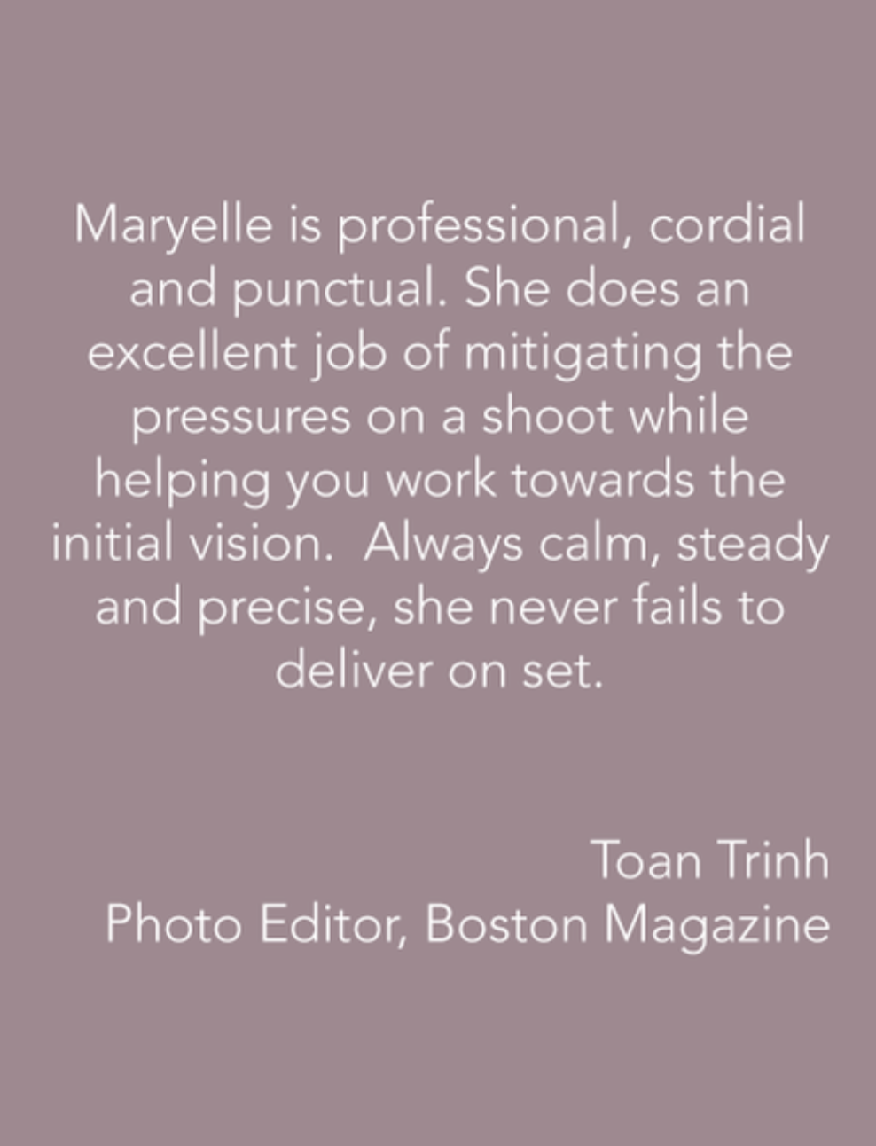 Testimonial from Toan Trinh, Photo Editor, Boston Magazine