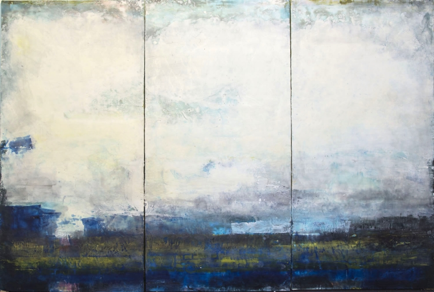 "Cloud and Mystery  : beeswax + pigment on 3 panels : 48:h x 72""w x 2""d"